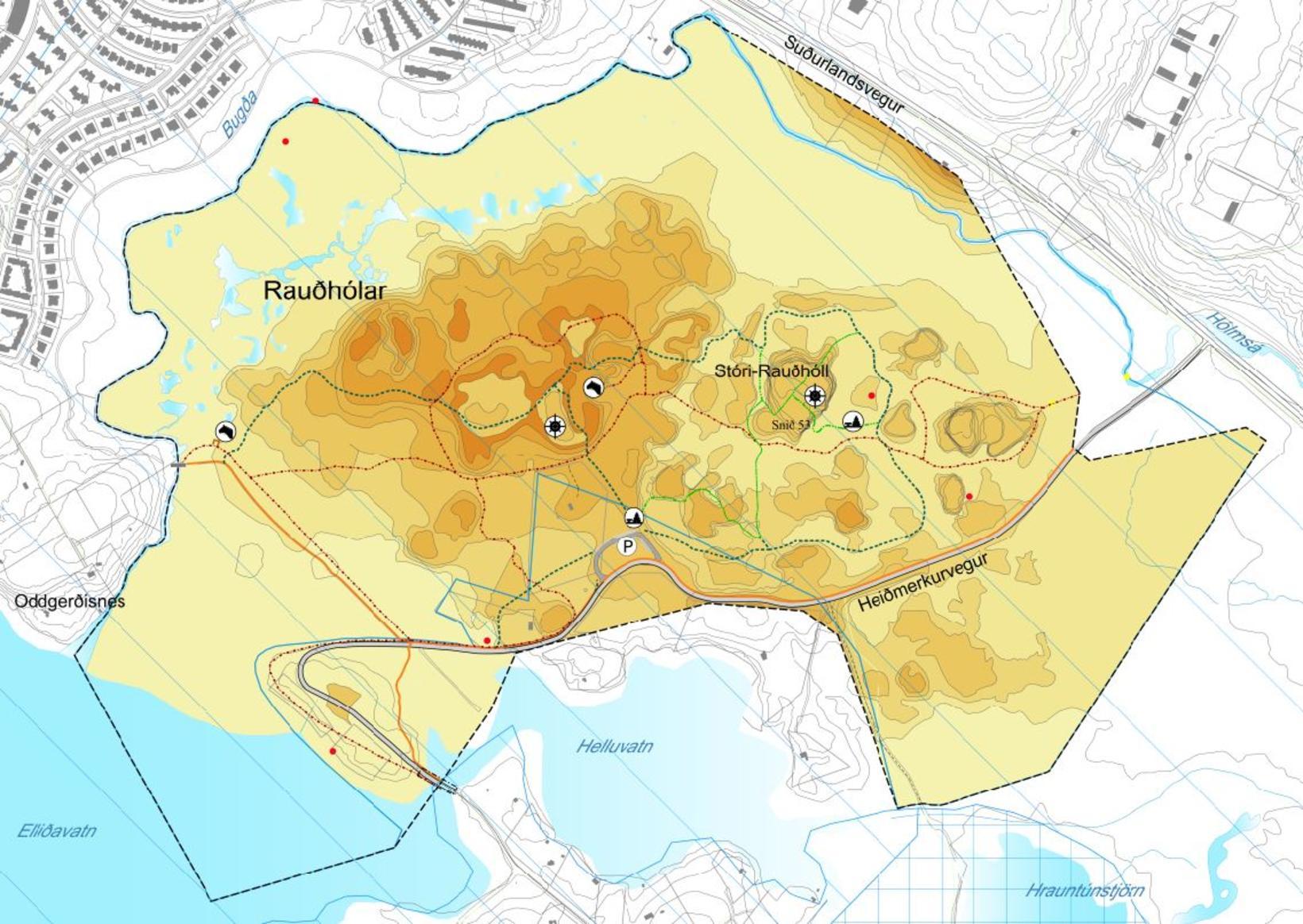 Kort af Rauðhólasvæðinu samkvæmt deiliskipulaginu.