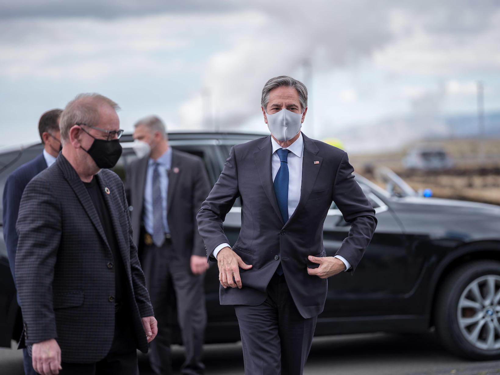 US Secretary of State Antony Blinken arriving at Hellisheiði geothermal …