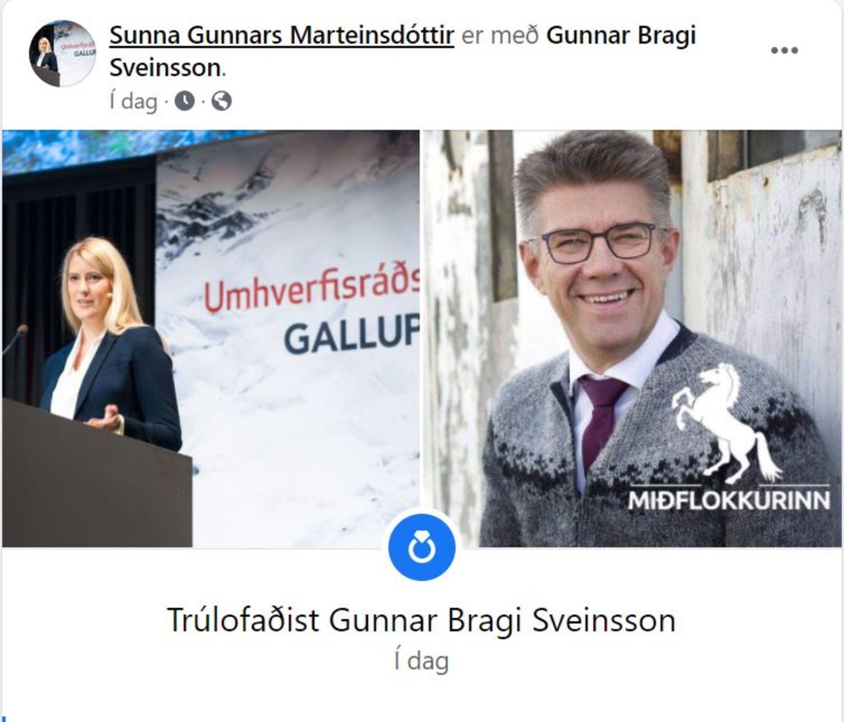 Sunna Gunnars Marteinsdóttir og Gunnar Bragi Sveinsson eru trúlofuð.