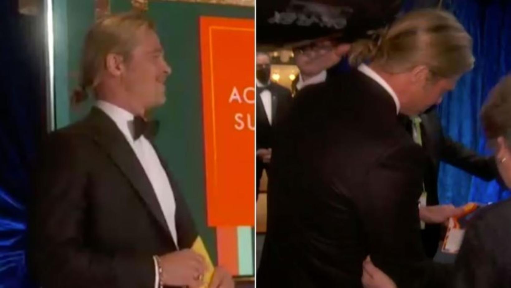 Brad Pitt með nýju hárgreiðsluna.