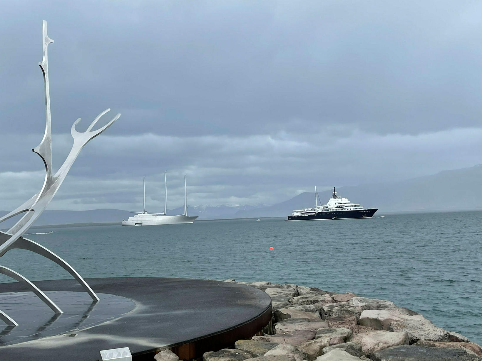 The superyachts, seen from the Sun Voyager last night.
