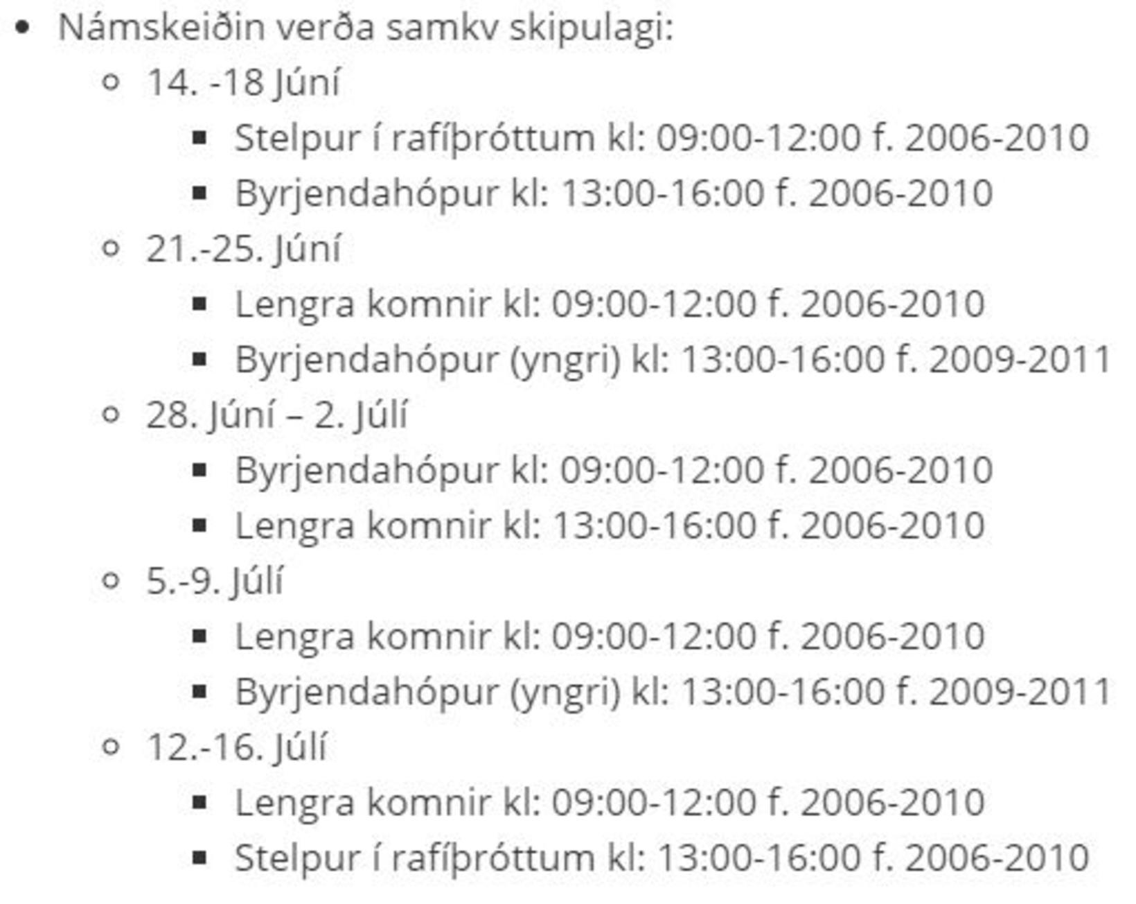Lýsing á sumarnámskeiði Selfoss eSports á síðunni http://fristundir.arborg.is/