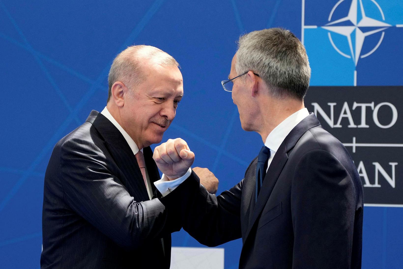Recep Tayyip Erdogan, forseti Tyrklands og Jens Stoltenberg.
