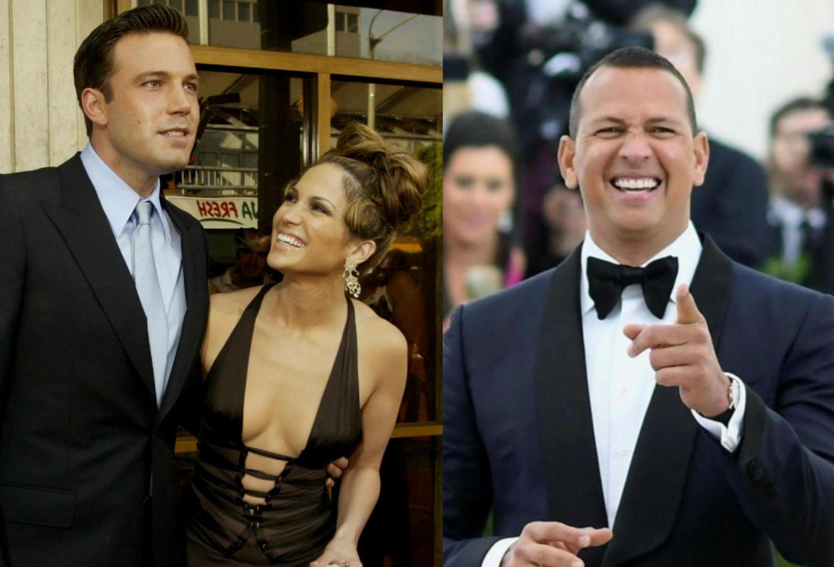 Ben Affleck og Jennifer Lopez ásamt Alex Rodriguez.