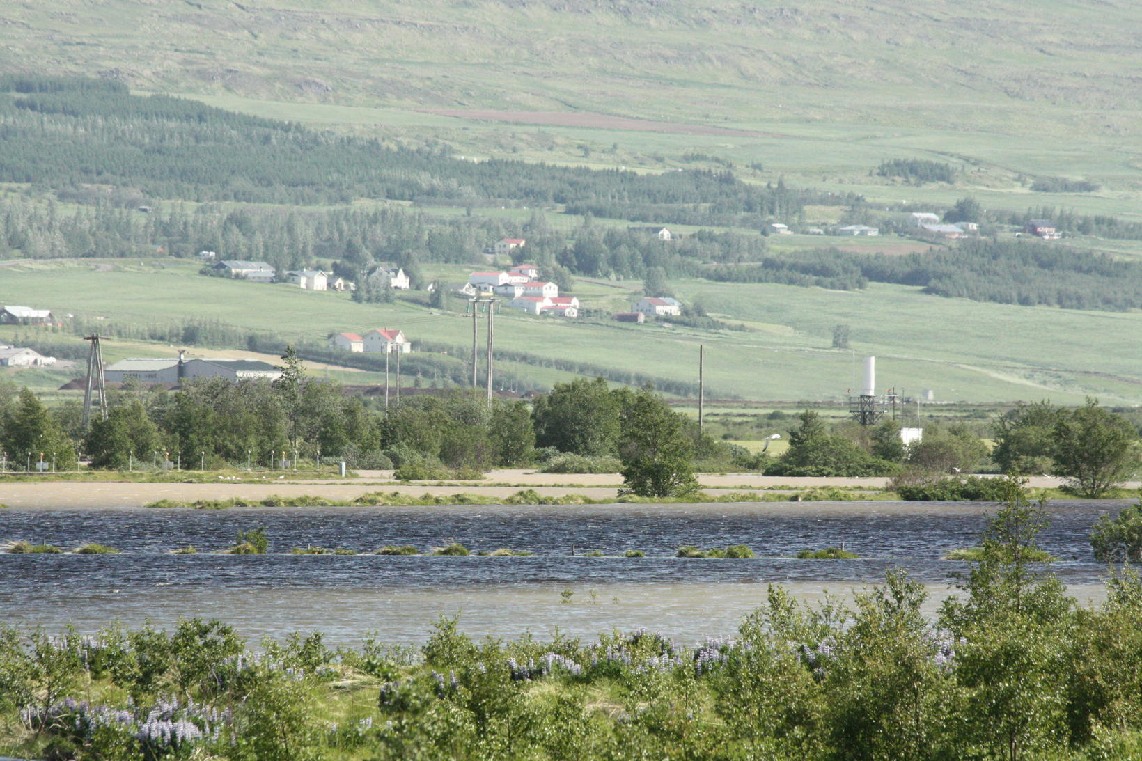 Eyjafjarðará river is swollen.