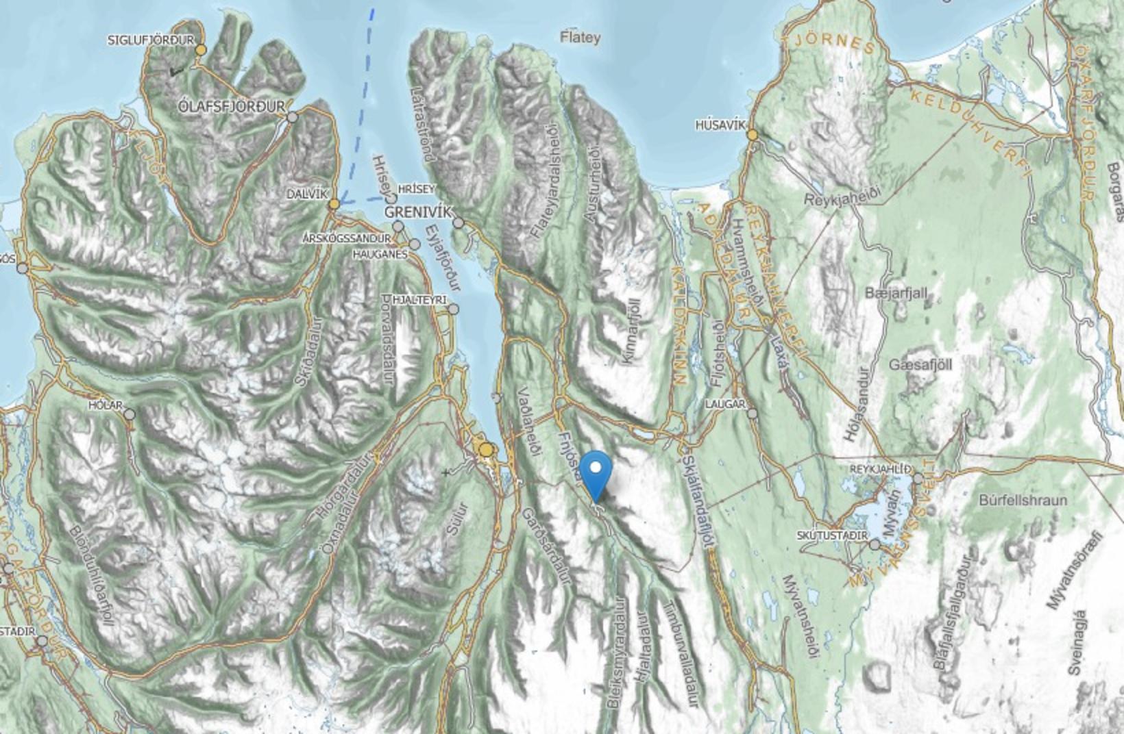 The location of Illugastaðir in Fnjóskadalur valley, North Iceland.