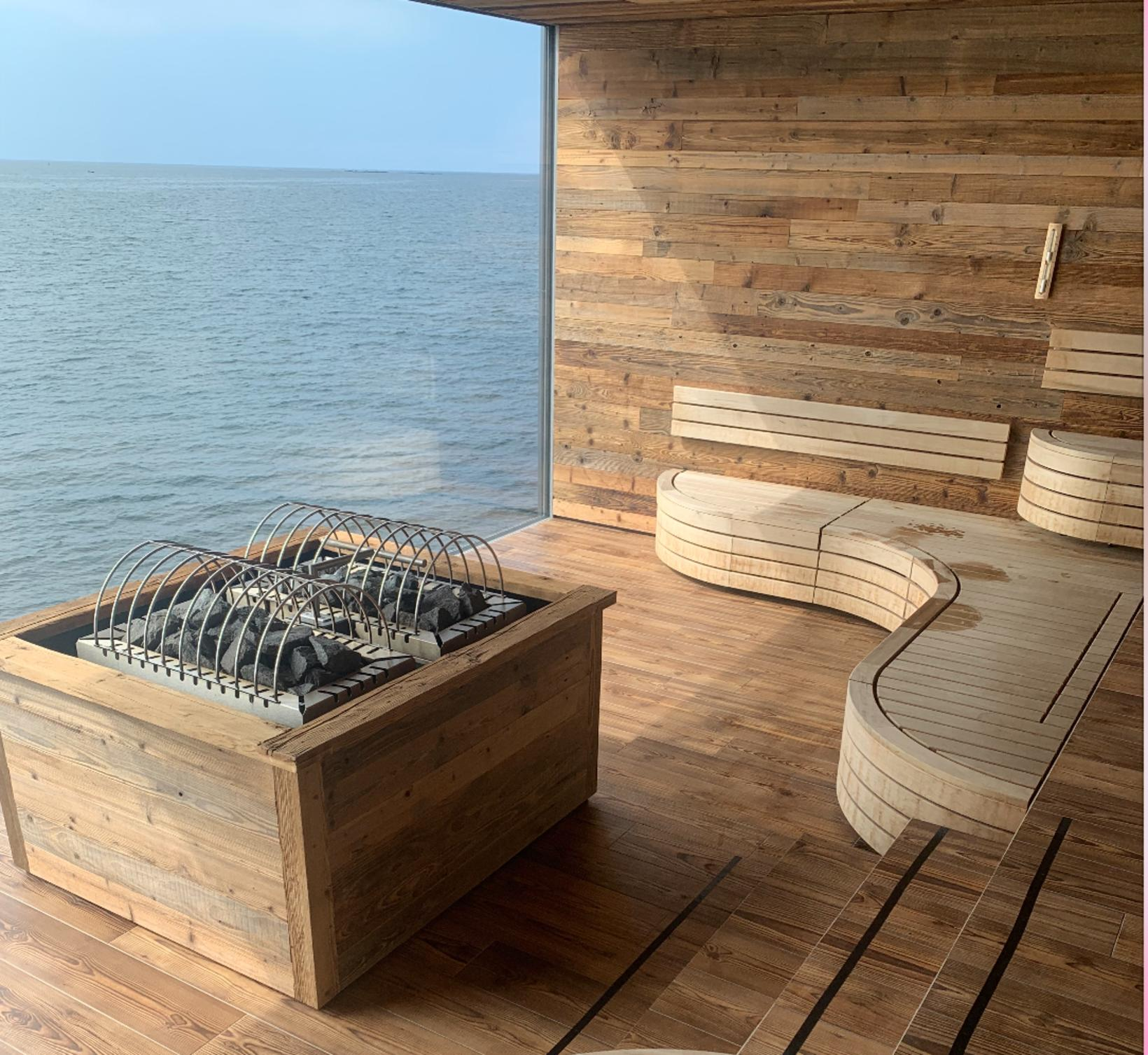 The sauna with sea view through one of the largest …