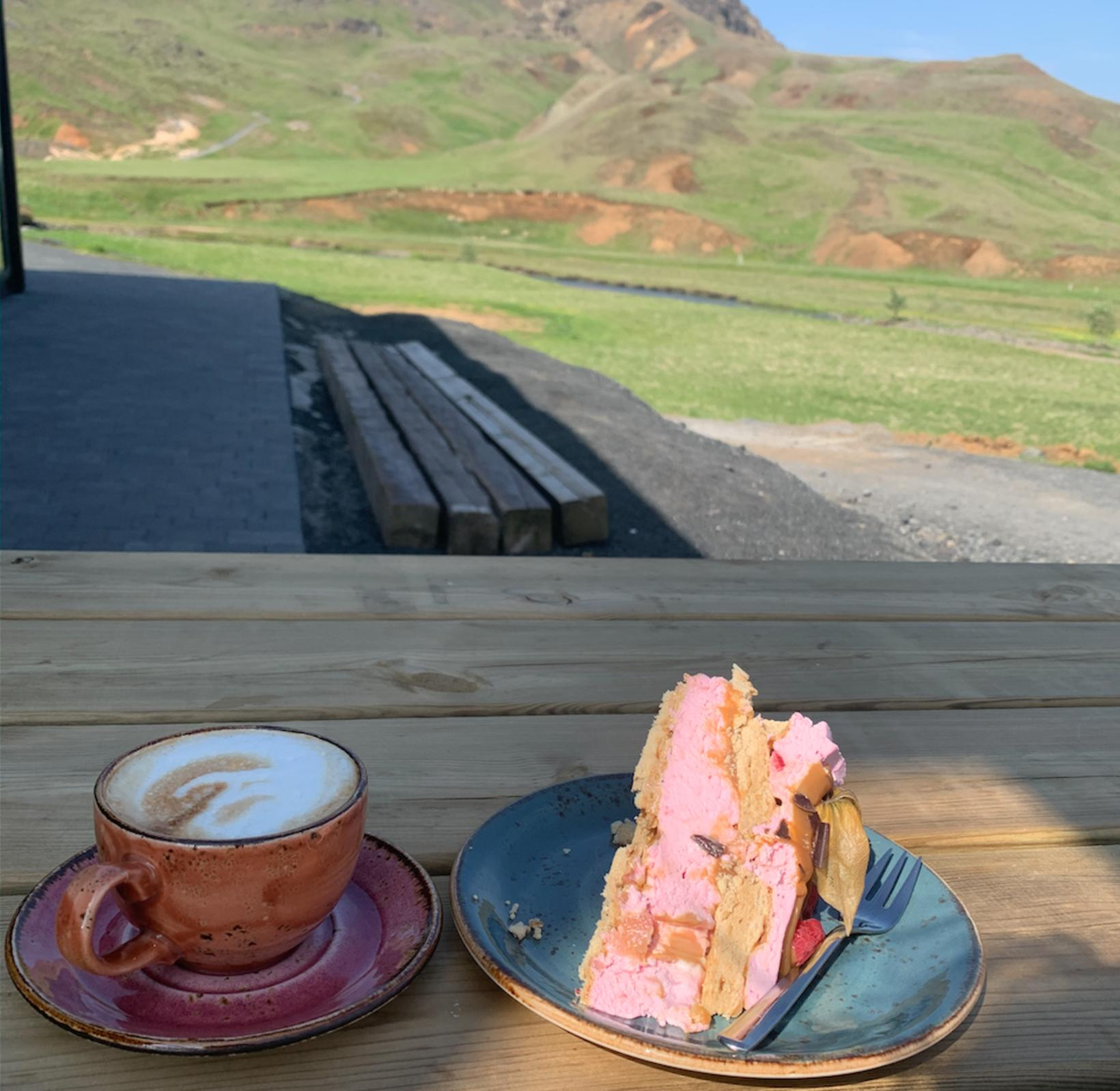 Coffee and cake at Reykjadalur Café.