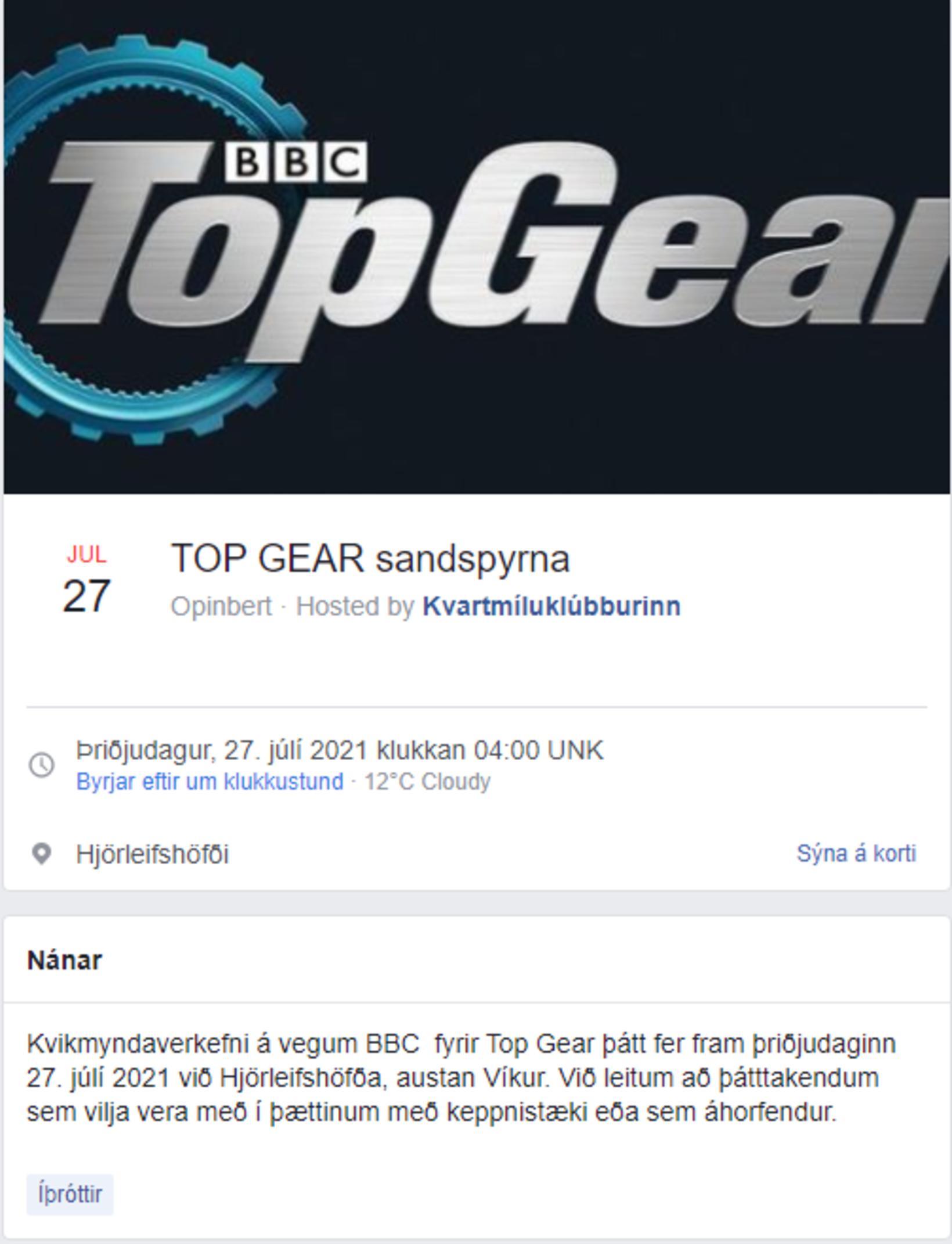 Viðburður Kvartmíluklúbbsins á Facebook.