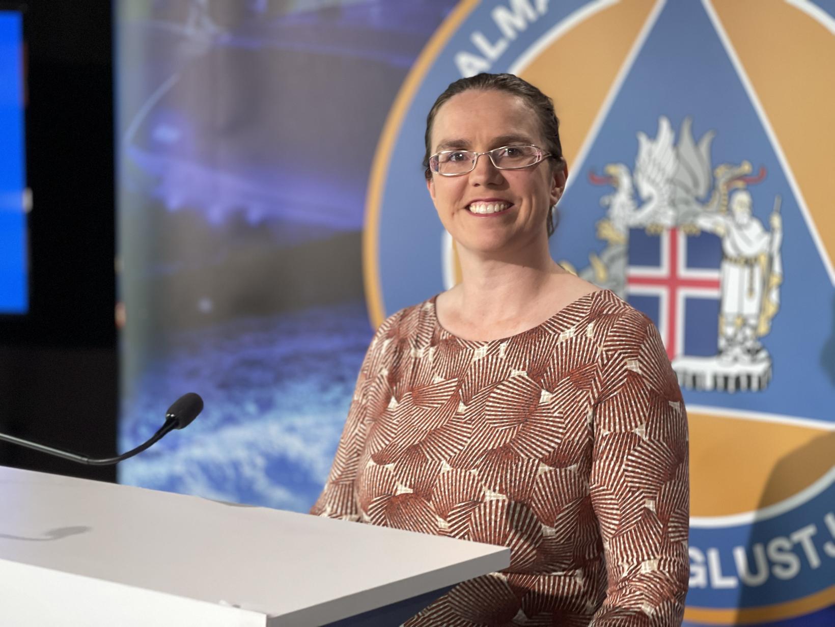 Kamilla S. Jósefsdóttir á fundi almannavarna í morgun.