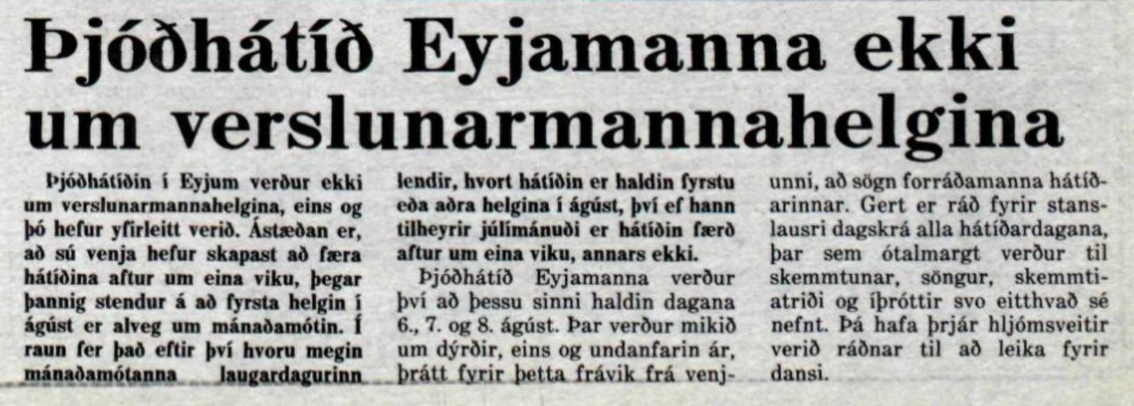 Frétt úr Morgunblaðinu 31. júlí 1982.