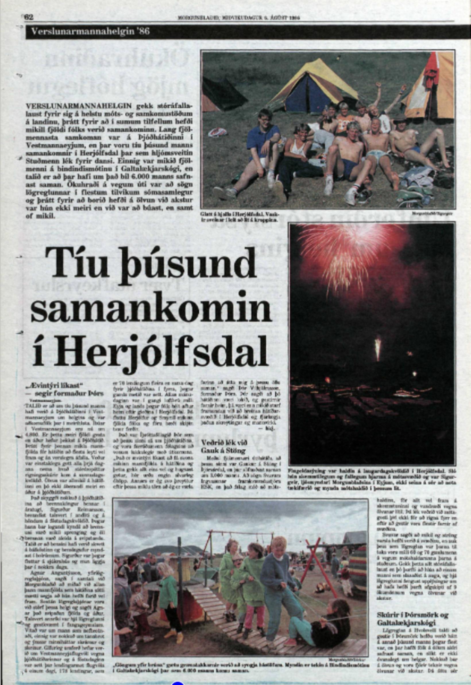 Frétt úr Morgunblaðinu 6. ágúst 1986.