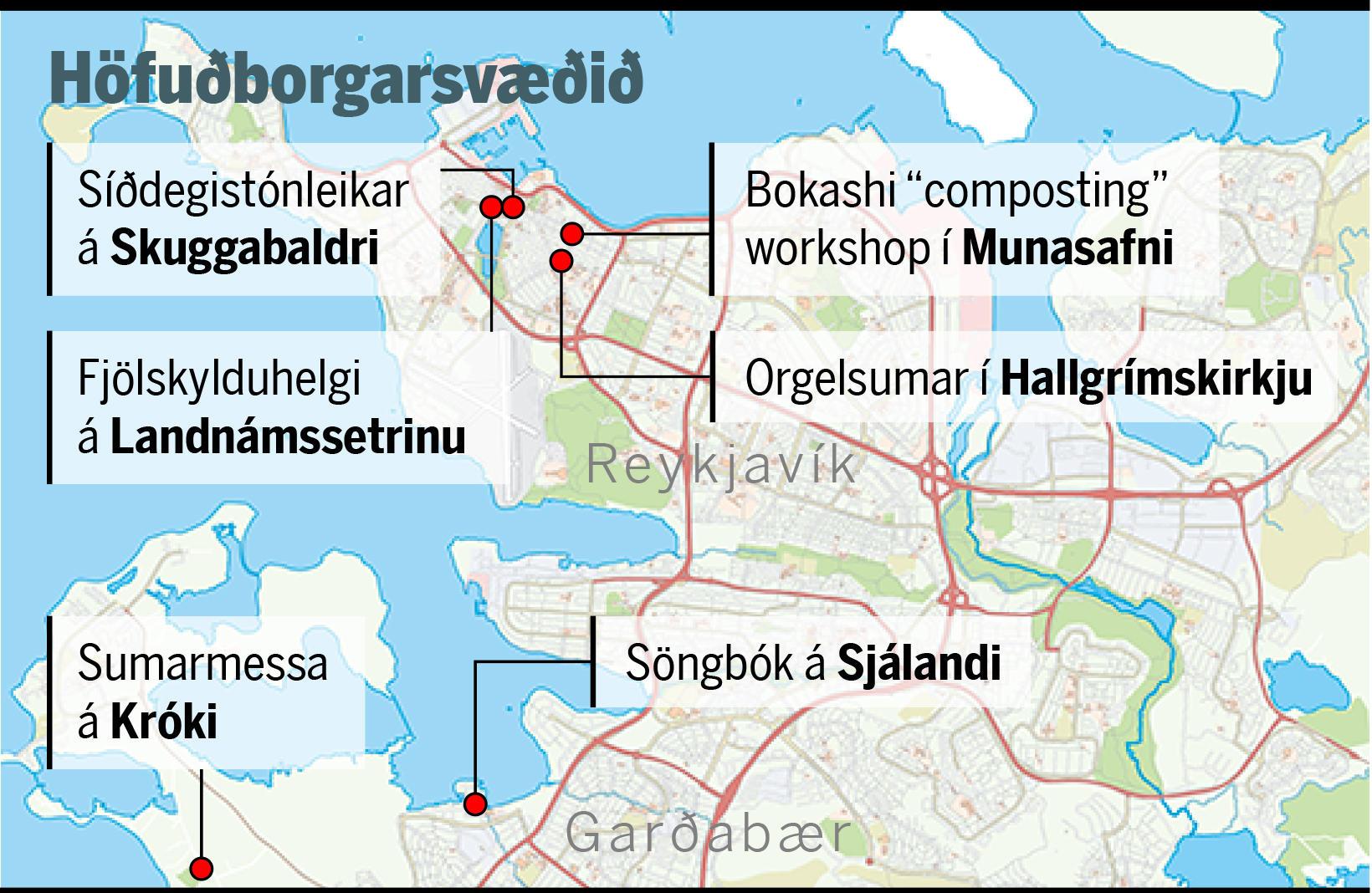 Tónlistin verður allsráðandi á höfuðborgarsvæðinu um verslunarmannahelgina.
