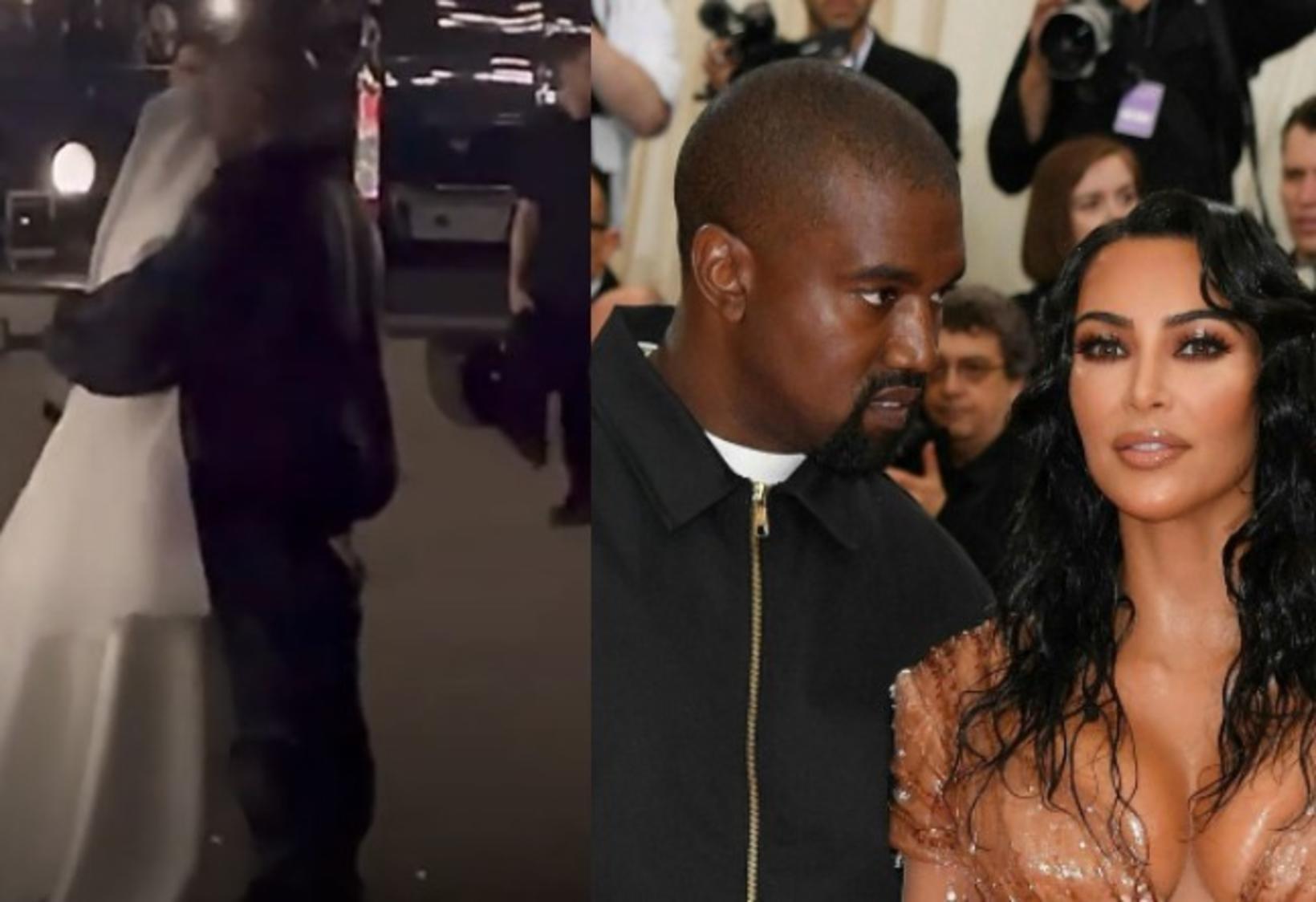 Kanye og Kim knúsuðust í hlustendapartíi Kanye en þangað mætti …