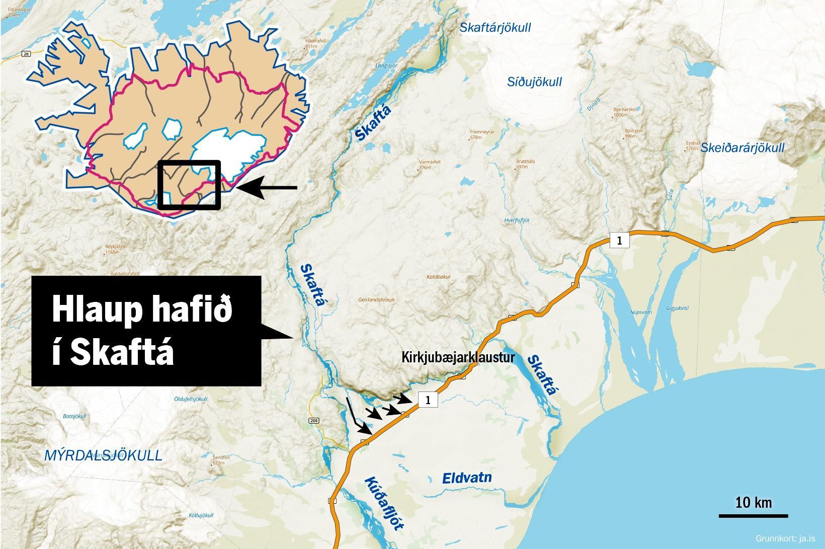 The location of Skaftá river.