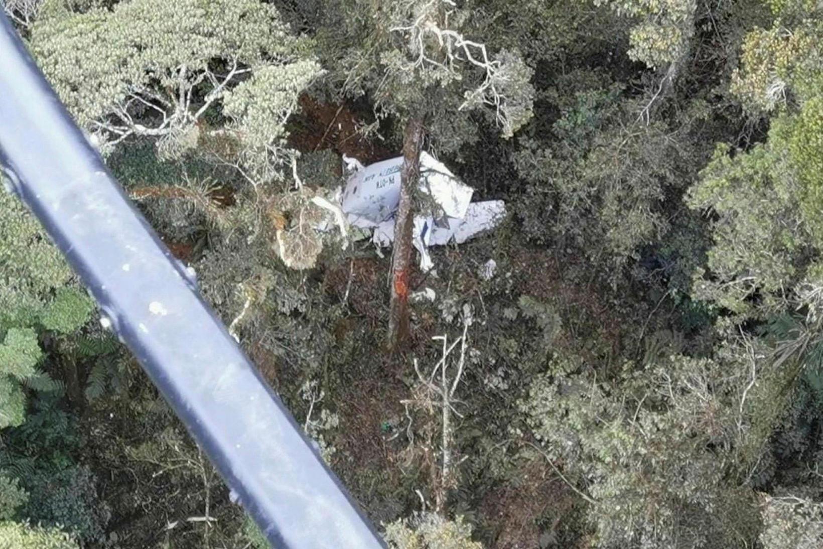 Flugvélin brotlenti í frumskógi í Papua-héraði.