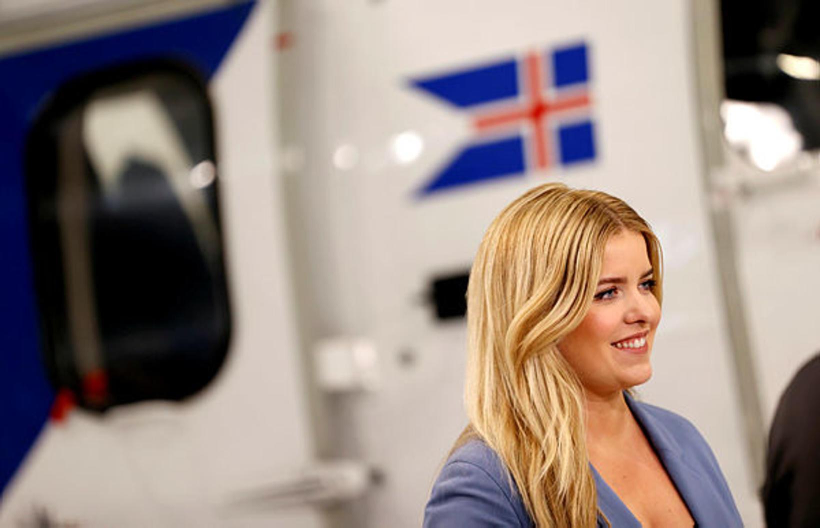 Áslaug Arna Sigurbjörnsdóttir dómsmálaráðherra á blaðamannafundi Landhelgisgæslunnar.