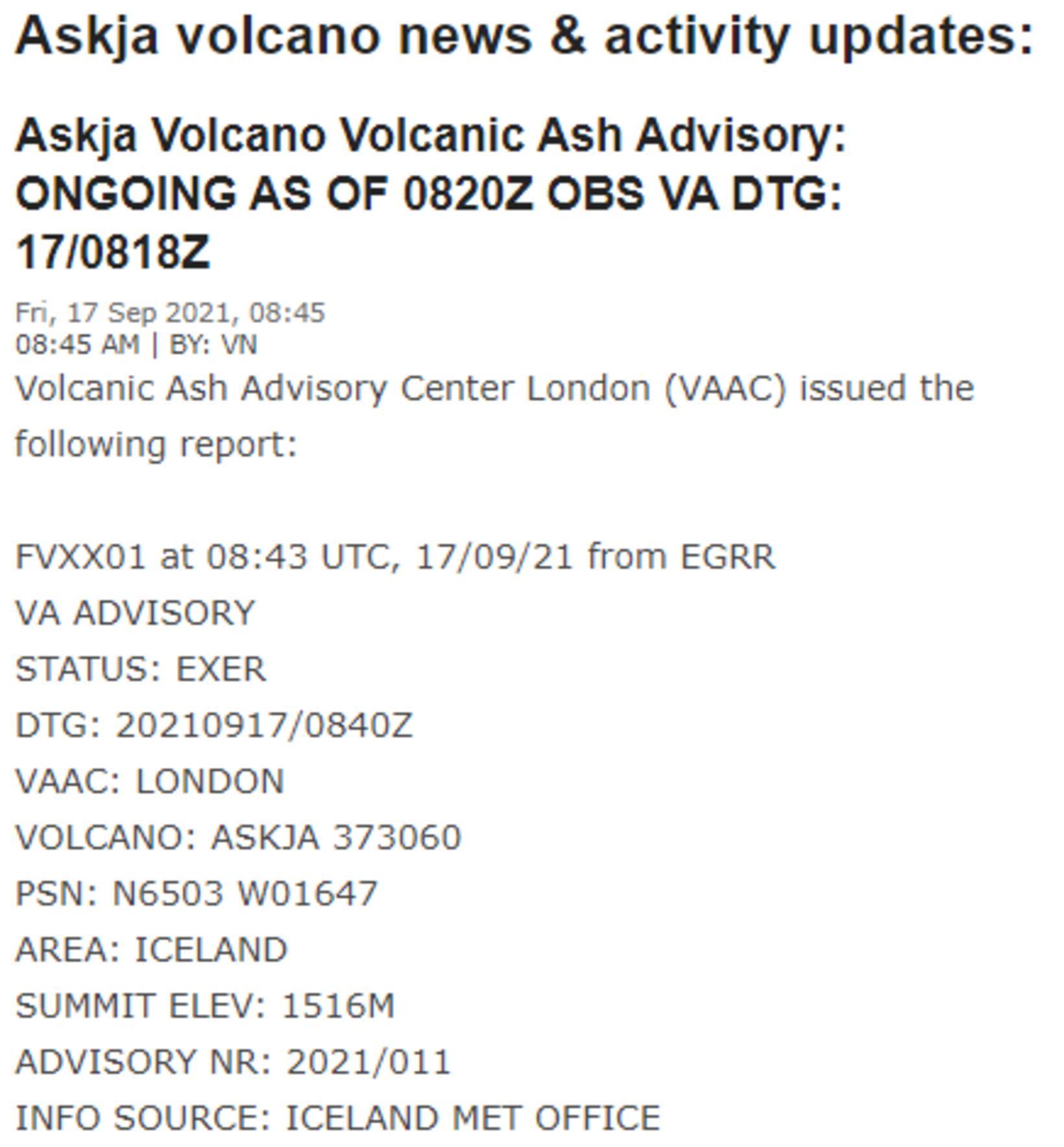 Upplýsingarnar sem vefurinn Volcano Discovery tók upp og birtir lesendum …