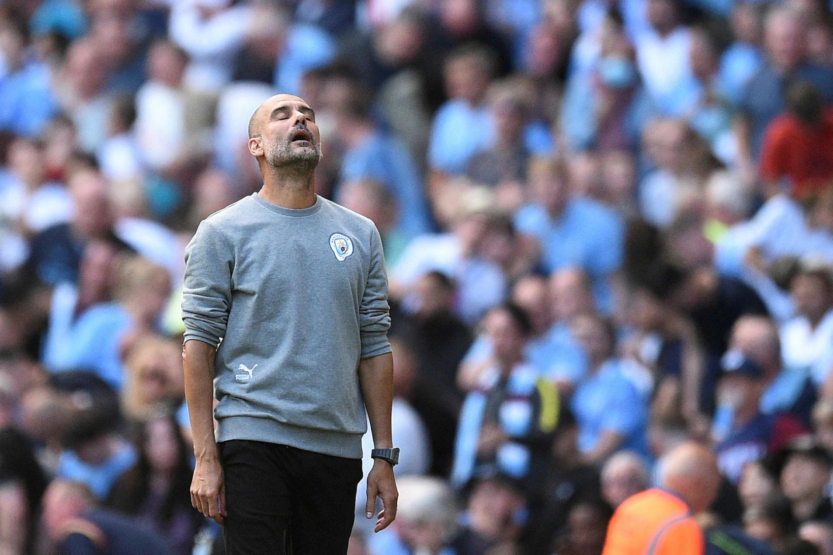 Pep Guardiola, knattspyrnustjóri Manchester City grautfúll í leikslok.