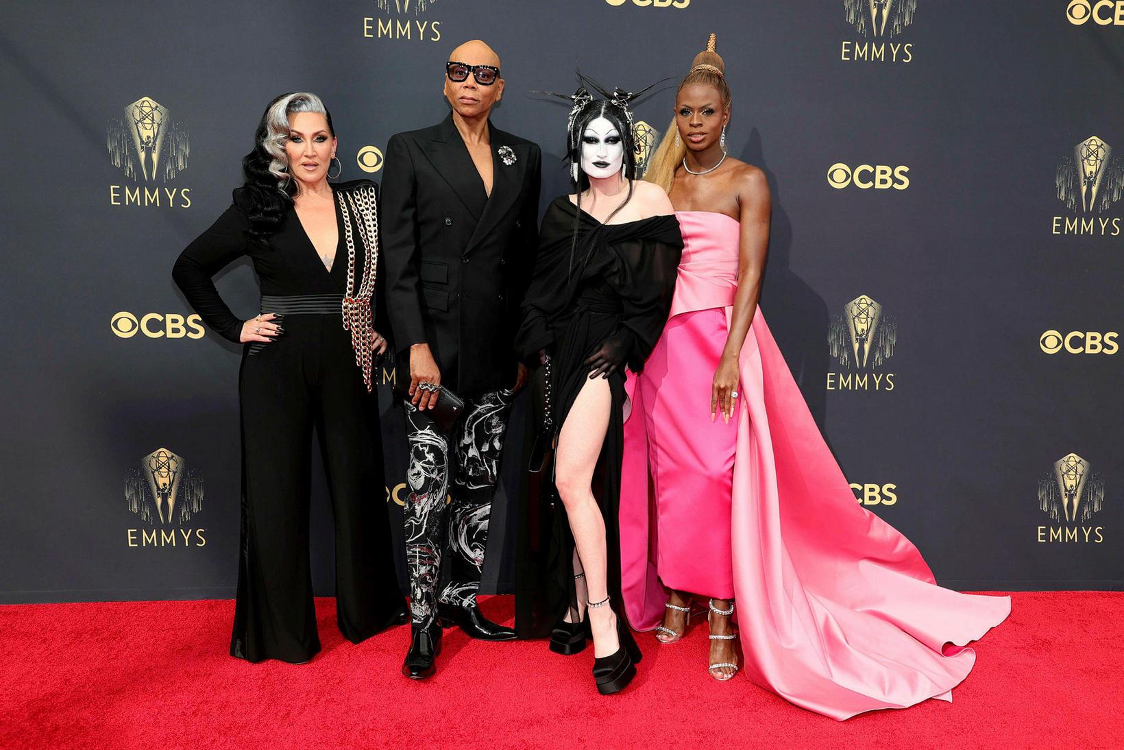 Michelle Visage, RuPaul, Kade Gottlieb, og Reggie Gavin á Emmy-verðlaunahátíðinni.