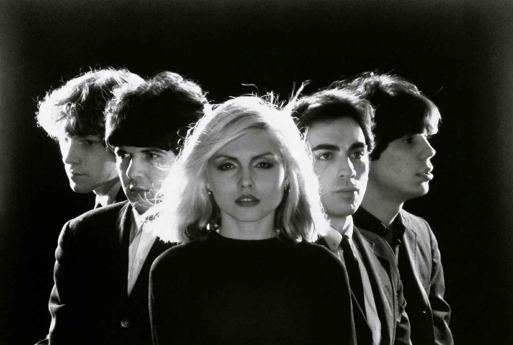 Hljómsveitin Blondie eins og hún var árið 1977. Frá vinstri …