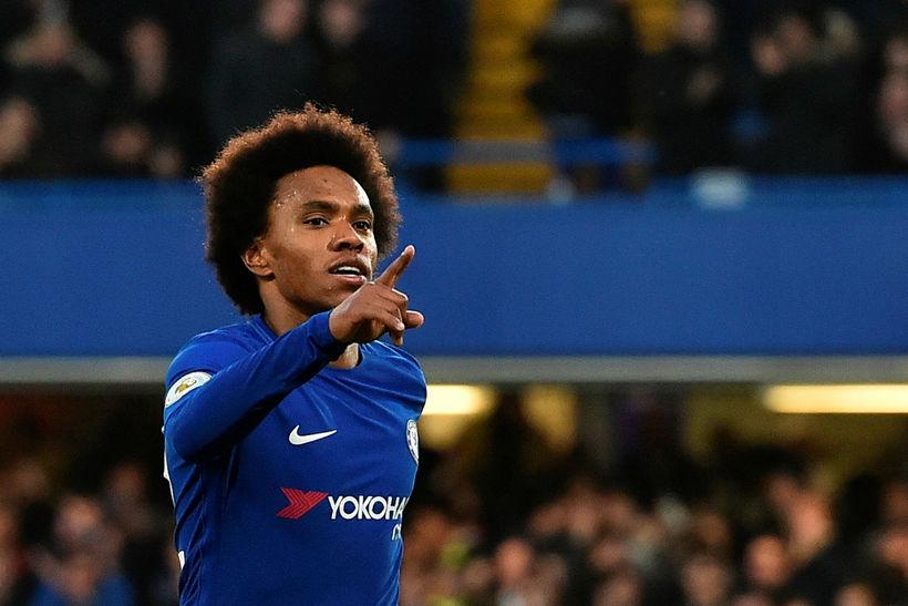 Willian fagnar marki með Chelsea.