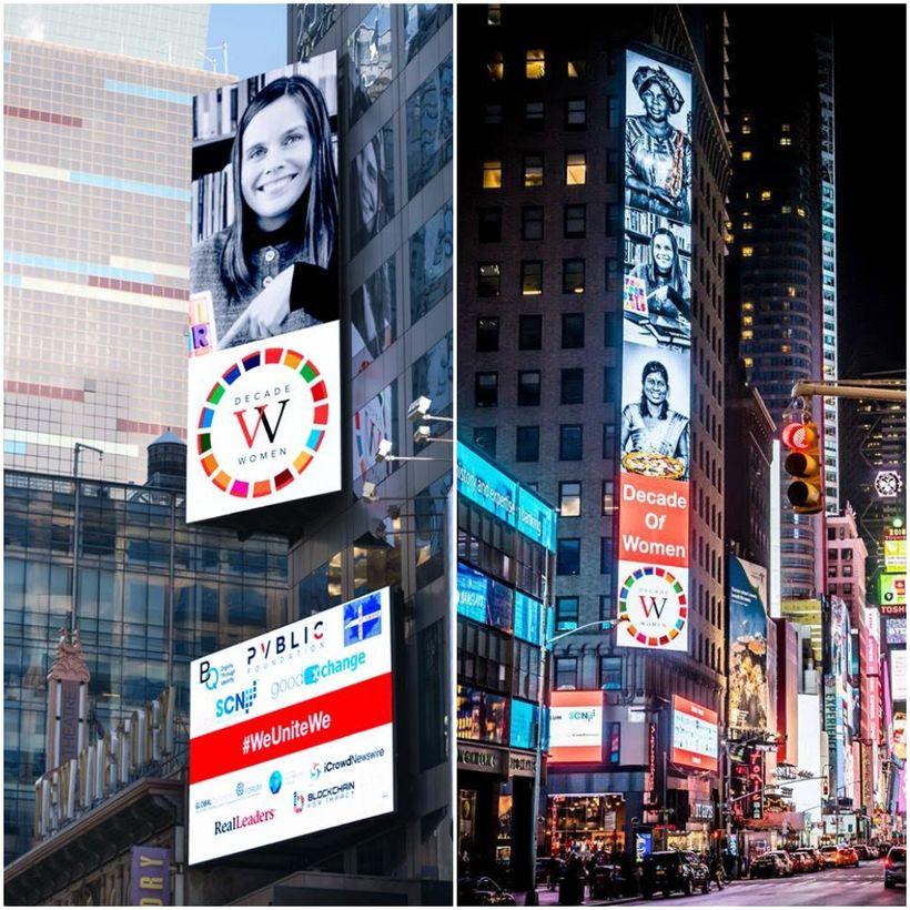 Katrín Jakobsdóttir forsætisráðherra tekur á móti vegfarendum á Times Square ...