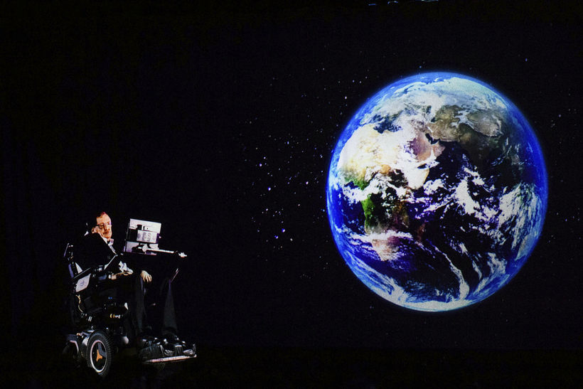 Stephen Hawking á ráðstefnu í Hong Kong fyrir stuttu.