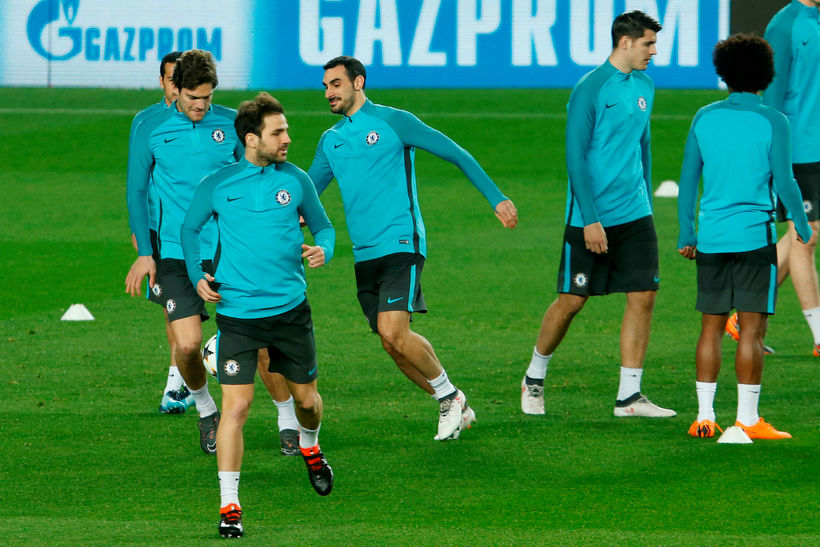 Leikmenn Chelsea á æfingu á Camp Nou í gærkvöld.