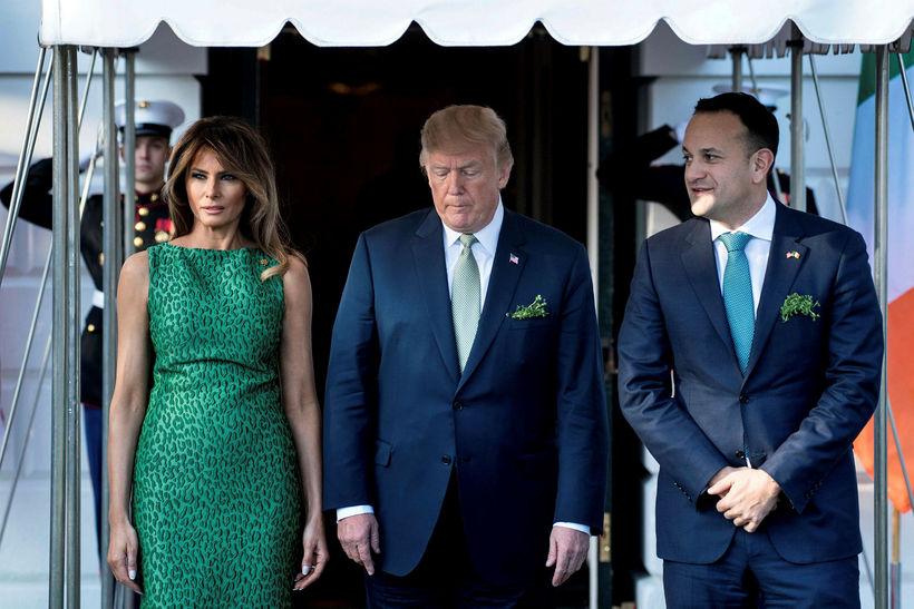Melania Trump,Donald Trump og Leo Varadkar.