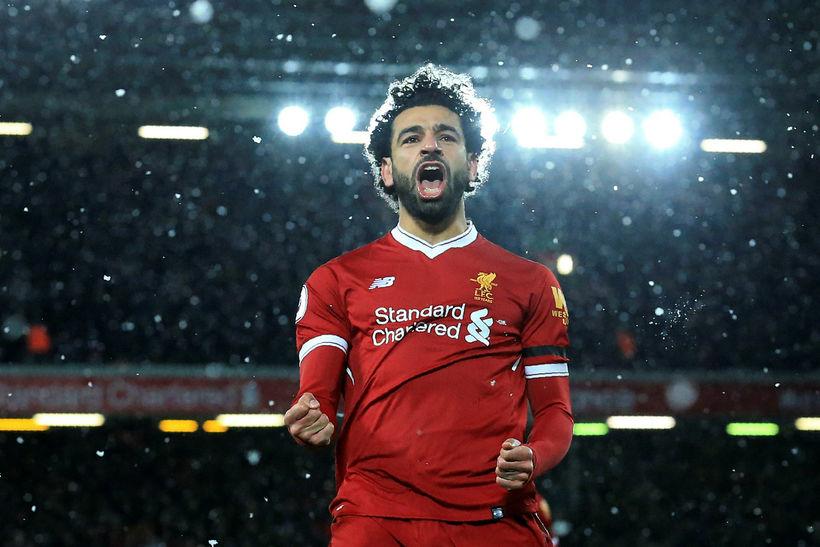 Mohamed Salah fagnar einu af mörkum sínum í gær.