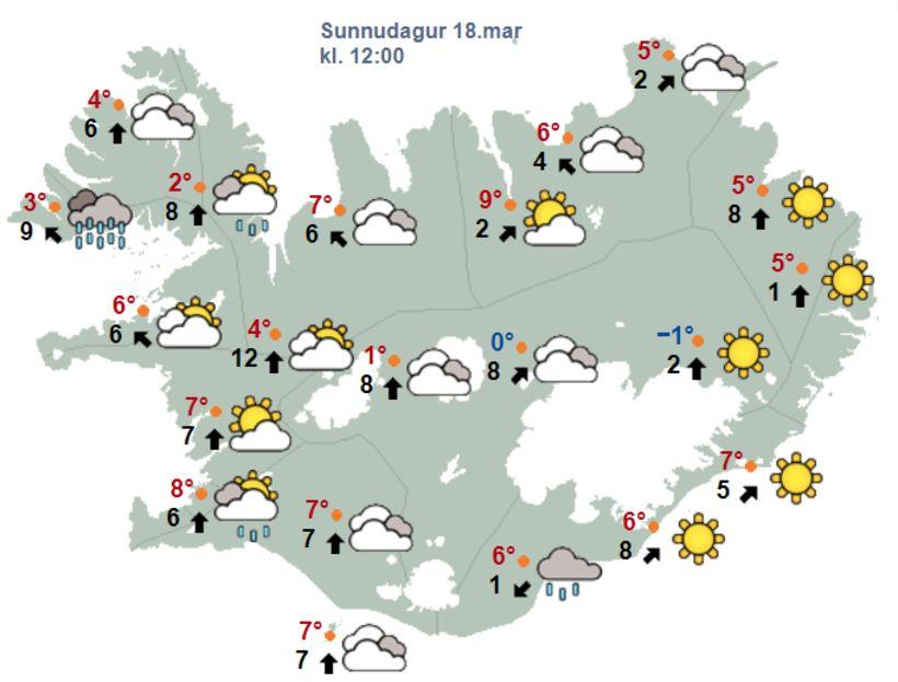 Veðurhorfur kl. 12 á hádegi í dag, sunnudag.