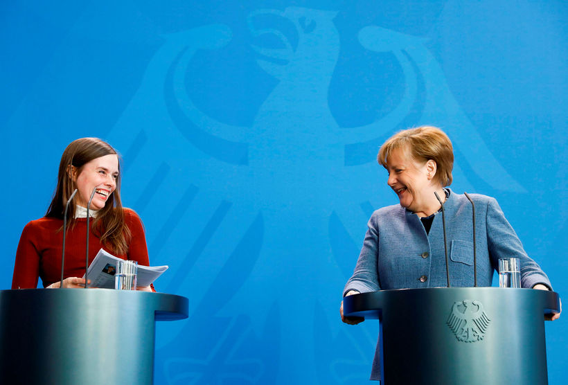 Jakobsdóttir and Merkel at a press meeting this afternoon in ...