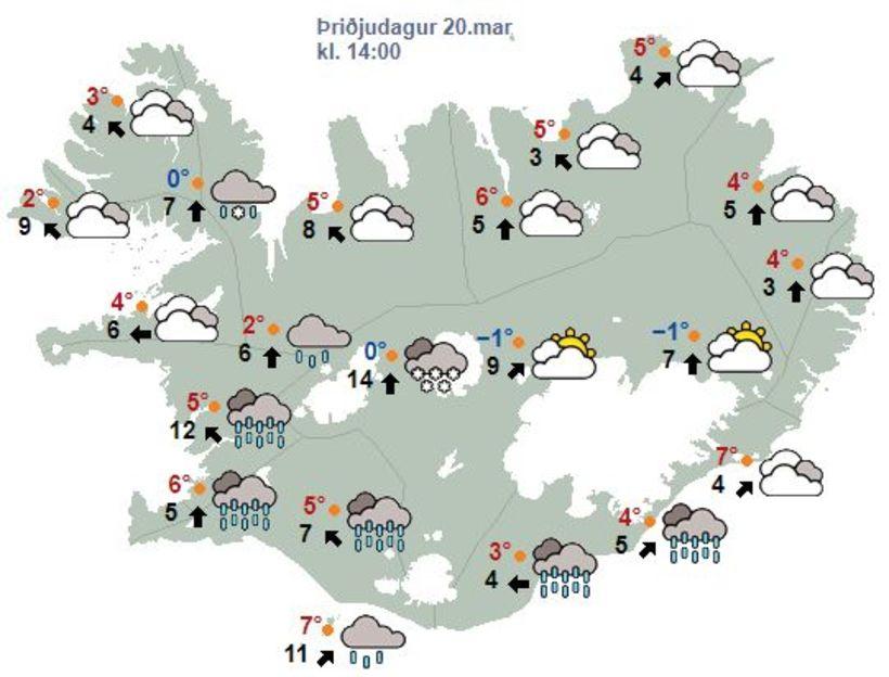Veðurspá klukkan 14 í dag, þriðjudag.
