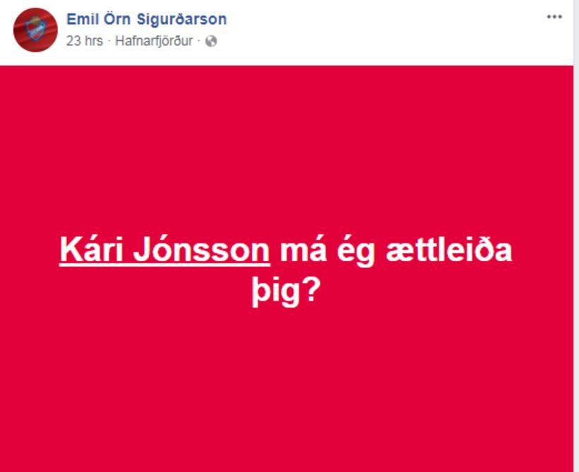 Þessi skilaboð biðu Kára á Facebookvegg hans að leiknum loknum.
