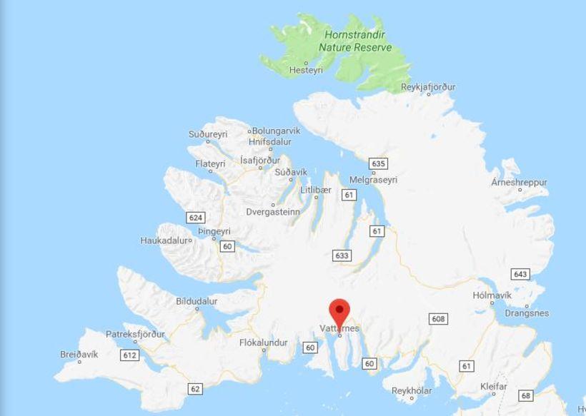 Óhappið átti sér stað á Vestfjarðavegi í nótt.