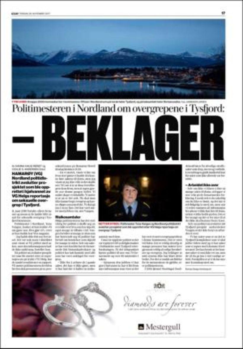Verdens Gang vakti mikla athygli á ofbeldisverkunum í Tysfjord árið ...