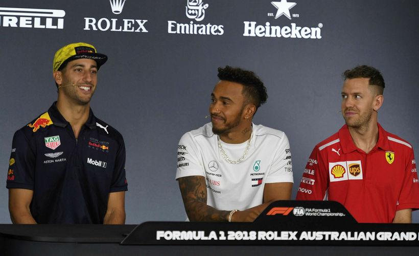 Þeir koma til að slást um helgina, f.v.: Daniel Ricciardo, ...