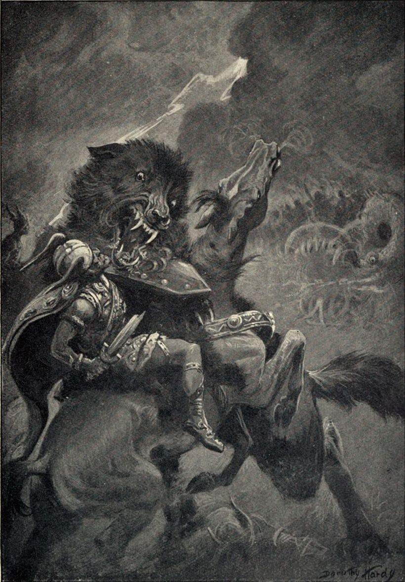 A depiction of Fenrir fighting Odin, the head of the ...