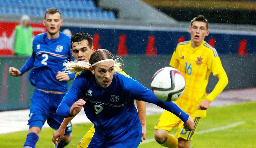 Elías Már Ómarsson í leik með U21 landsliði Íslands.