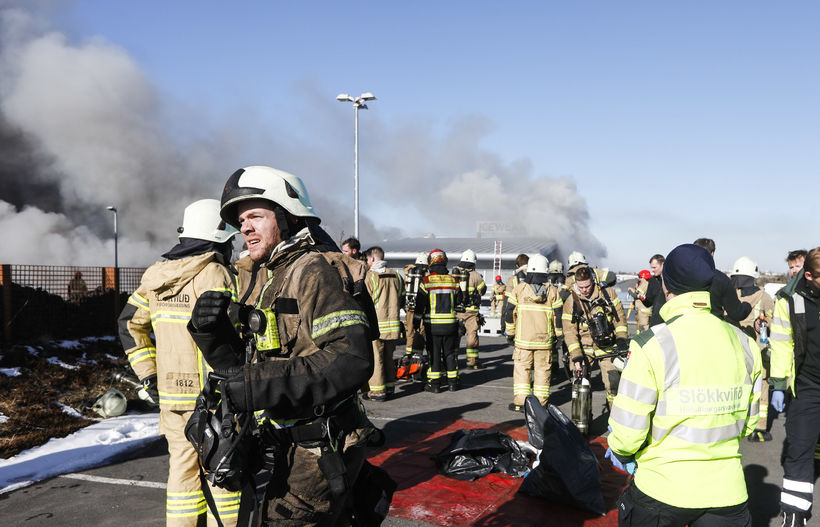 Fire fighters on location in Garðabær.