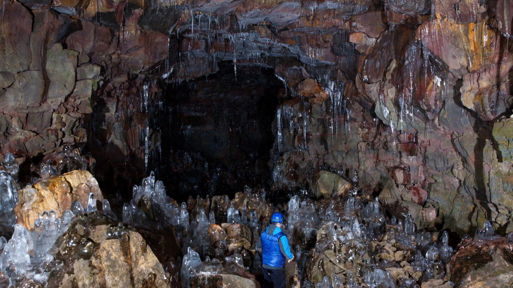 Deep inside Raufárshólshellir cave - frightening and thrilling at the ...