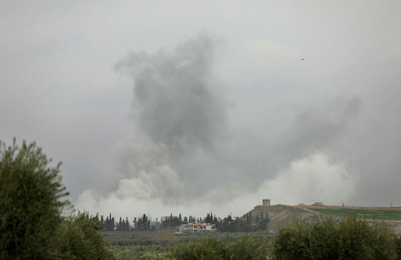 Smoke rises to the sky at Afrin following Turkish bombing ...