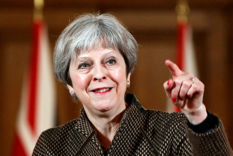 Theresa May, forsætisráðherra Bretlands, á blaðamannafundi í morgun sem haldinn ...
