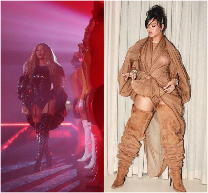 Beyoncé og Rihanna voru að vinna með sama útlitið á ...
