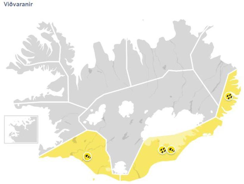 Gul viðvörun er í gildi á Suðurlandi, Suðausturlandi og Austfjörðum.
