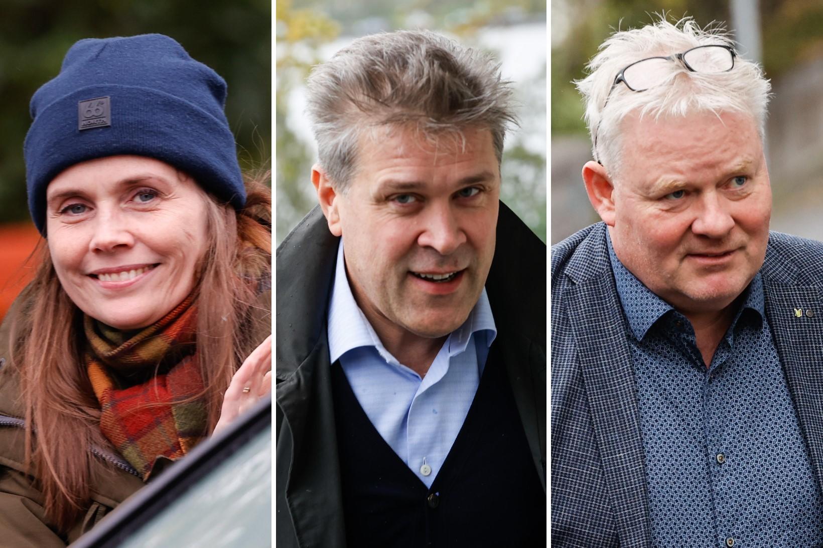 Katrín Jakobsdóttir, Bjarni Benediktsson og Sigurður Ingi Jóhannsson á samsettri …