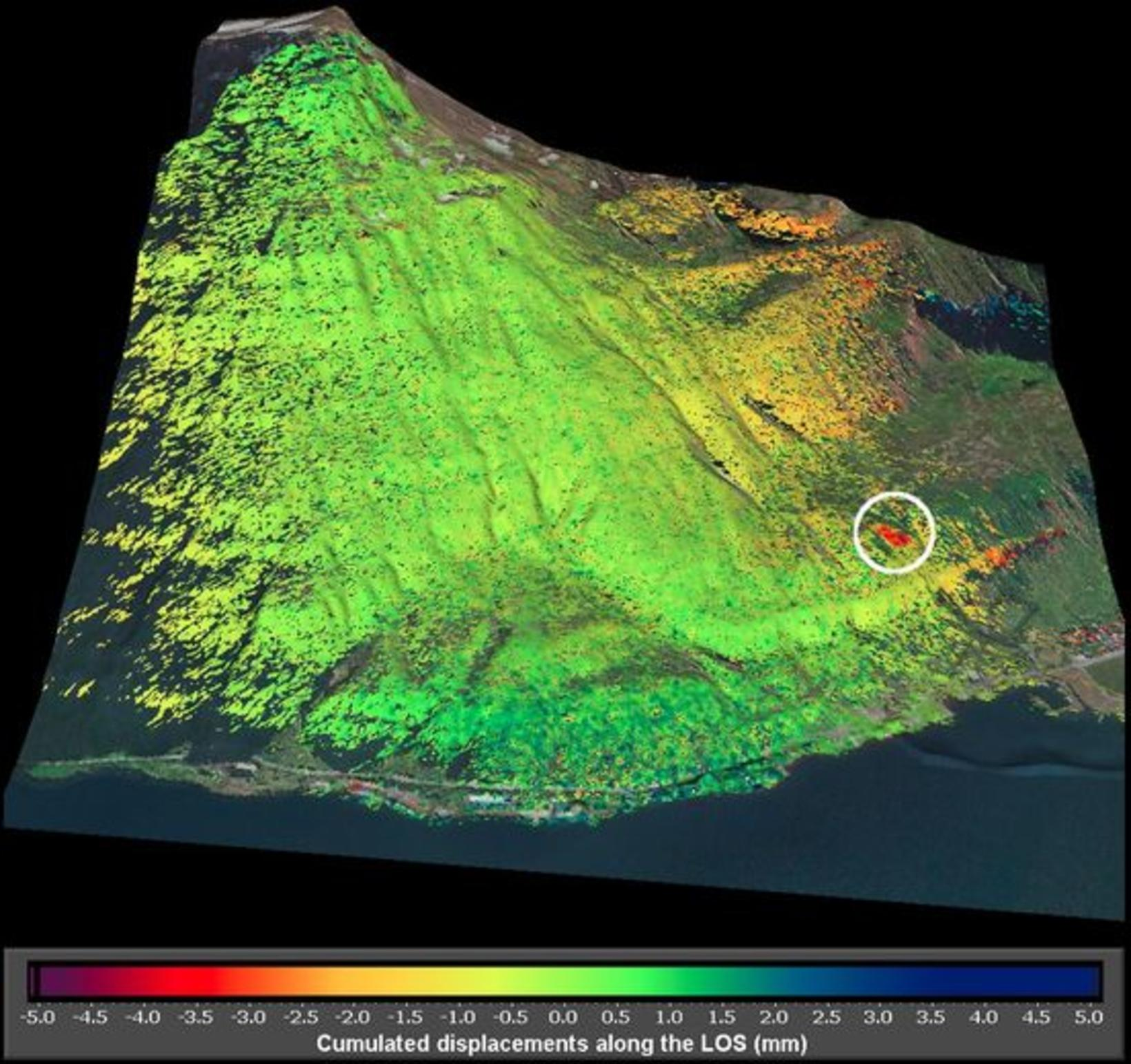 The picture shows movement detected in the mountain slope.