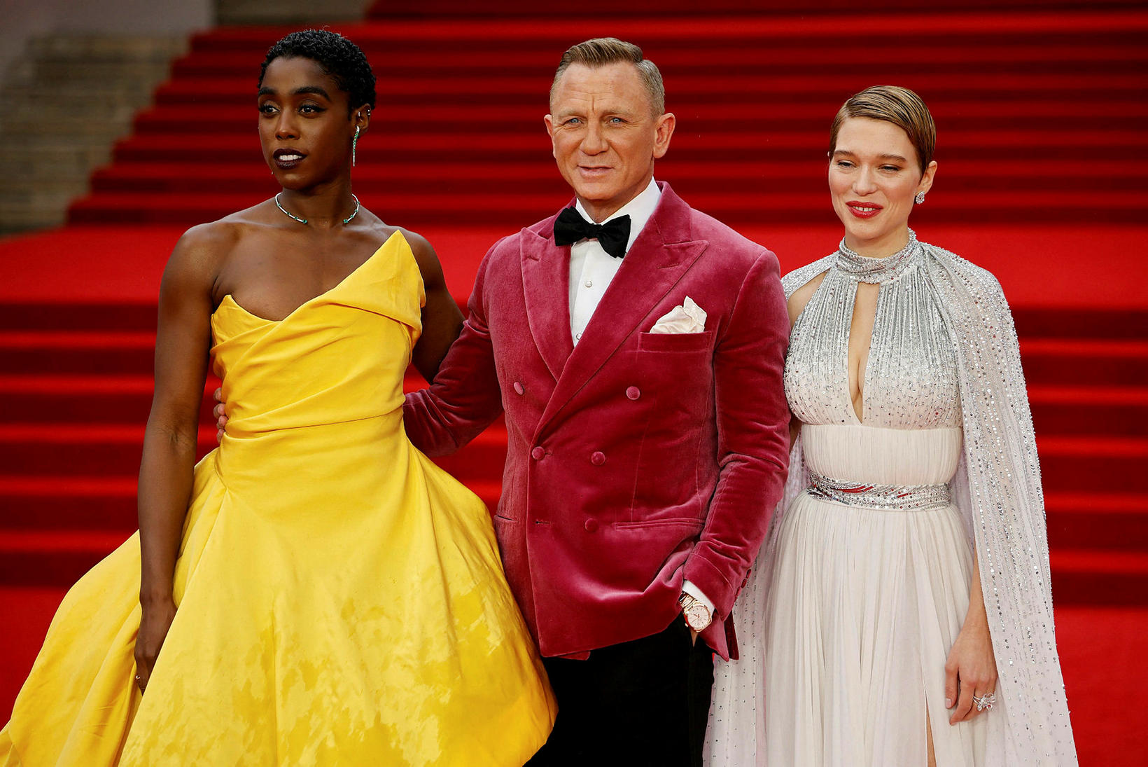 Lashana Lynch, Daniel Craig og Lea Seydoux á frumsýningu No …