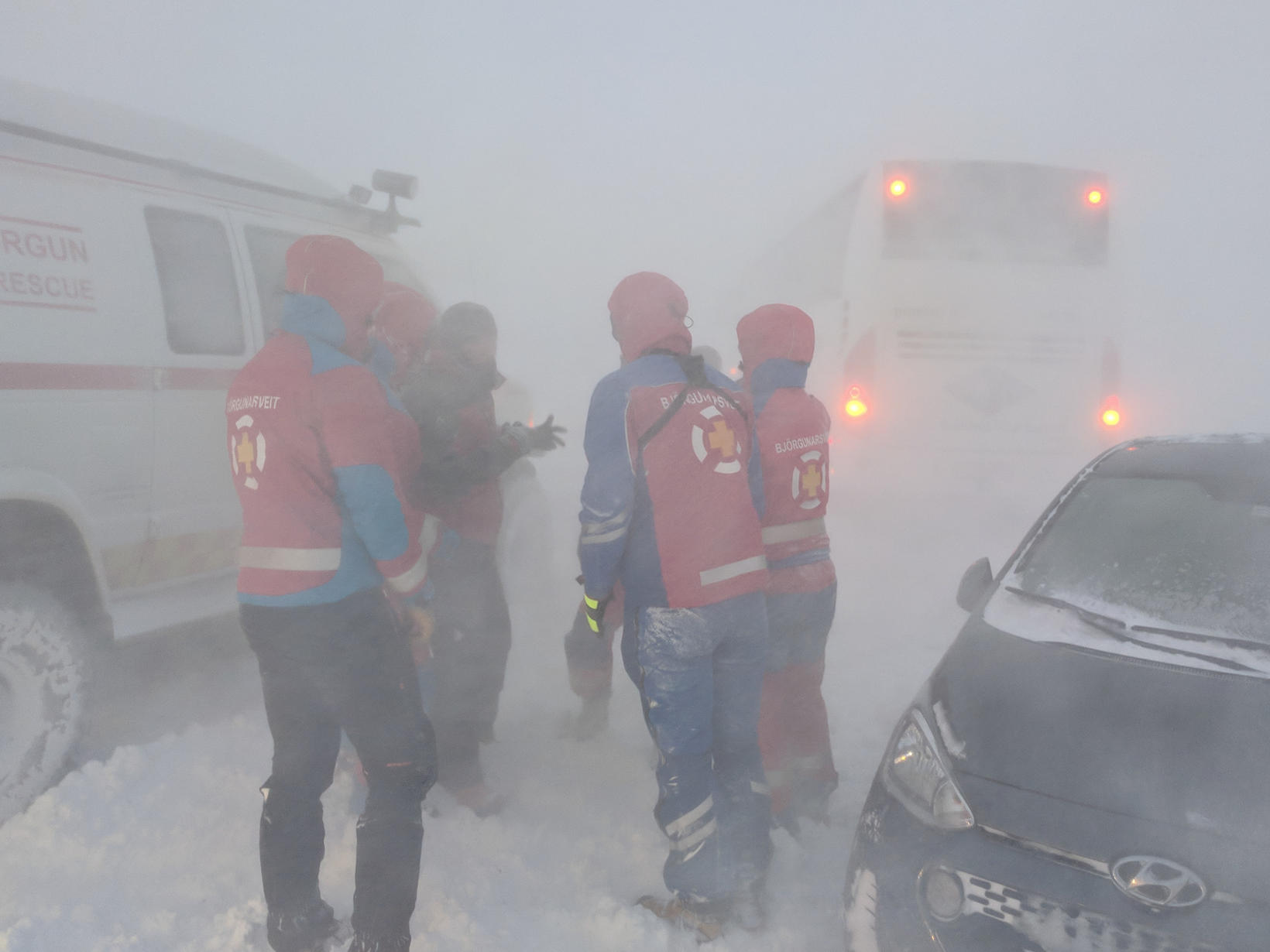 Rescue team at work yesterday.